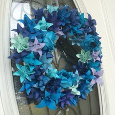 Shades of blue origami paper floral wreath. Would use this for a boy baby shower