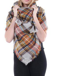NWT-FALL-WINTER-Fringe-SCARF-shawl-WRAP-Plaid-Check-Black-Gray-blue-Burgundy