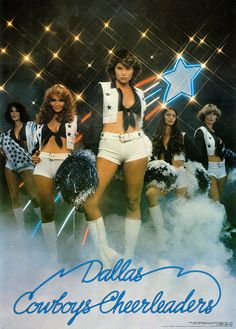 Dallas Cowboy Cheerleaders Poster 1977 --  cheerleaders shown (left to right) --  Syndy Garza - Suzette Russell - Suzie Holub - Cynde Lewis - Debbie Wagener -