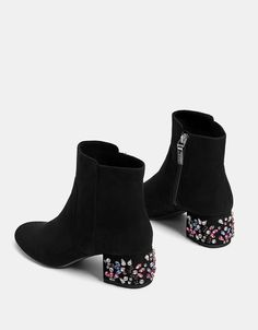 Discover this and many more items in Bershka with new products every weekBejewelled mid-heel ankle boots. Discover this and many more items in Bershka with new products every week Mid Heel Ankle Boots, Shoes Heels Boots, Heeled Boots, Shoes Sneakers, Sneakers Adidas, Dress Boots, Pretty Shoes, Beautiful Shoes, Cute Shoes