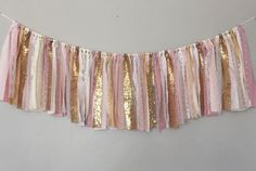 Light Pink and Gold Banner/ Birthday Banner/ Party/ Baby Shower/ Photography Banner/ Garland