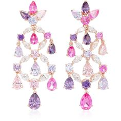 M'O Exclusive Rose Amethyst Chandelier Earrings  | Moda Operandi ($2,925) ❤ liked on Polyvore featuring jewelry and earrings