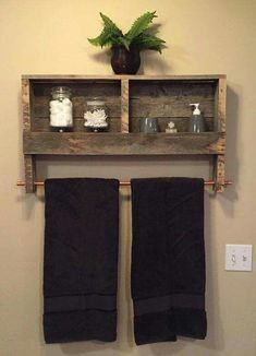 Reclaimed wood is used to make a most wonderful wall shelf and rack...you could use this in several rooms! I might even use a tension rod or repurposed curtain rod instead of a copper pipe!
