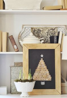 This Scrabble Christmas tree is perfect for adding a unique touch to your holiday decorations. Use Elmer's Craft Bond Tacky Glue so you can easily move pieces after they've been placed on the chalk.