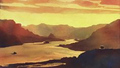 Poured watercolor painting of sunrise in the Columbia Gorge- Oregon