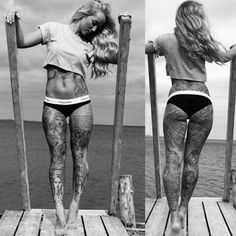 #Women #Ink #Tattoos #Sleeve #Body #inked #bold #black