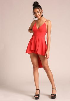 Flawless look! A gorgeous romper in a woven bodice solid all throughout. Has a flattering hi-lo peplum waist. Looks amazing with ankle strap heels and hoop earrings! Fashion Days, Womens Fashion, Romper Outfit, Nice Legs, Reno, Junior Outfits, Ankle Strap Heels, Sexy Legs, Peplum