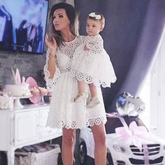 Trendy Women Kids Girls Baby clothes round neck three quarters sleeve Geometry cotton casual Party Mini Dresses one pieces Mommy And Me Dresses, Mother Daughter Dresses Matching, Mother Daughter Fashion, Mom Dress, Matching Family Outfits, Dress First, Baby Dress, Matching Clothes, Mommy And Me Outfits