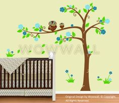 Vinyl Wall Decal Stickers Double Owls Swirly Tree Set