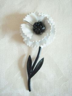 Vintage Metal Flower Pin ~ Brooch ~ Black ~ White