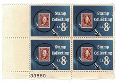 Block of Four 1972 8 cent Stamps Commemorating Stamp Collecting Scott Number 1474 First Day of Issue November 17 1972 #AmericanAntique #UsMail #Stamps #uncanceled #StampCollecting #4Cent #ScottNumber1474 #usps #8CentStamps #president #November171972 #commemorative #BlockOfStamps #unused