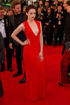 Kristen Stewart made heartrates soar in a scarlet red gown for the premiere of Cosmopolis Friday, May 25, 2012.