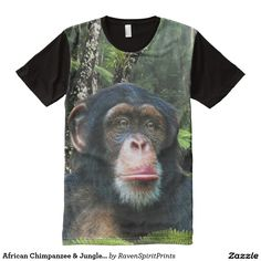 African Chimpanzee & Jungle Primate Wildlife Photo on a fully printed front-panel Baseball Shirt