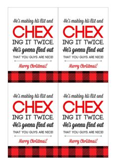 Easy and cheap neighbor Christmas gift idea: Chex mix with a super cute free printable tag about Santa CHEX-ing his list.
