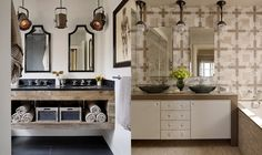 The one on the left.  Liking the idea of floating cabinet - wall to wall in the powder room.