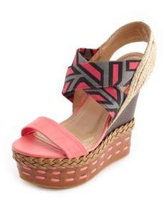 mixed media geo print wedge sandal #charlotterusse