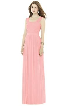 Alfred Sung Pleat Chiffon Knit A-Line Gown with Belt available at #Nordstrom