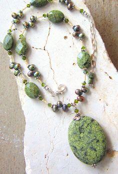 Russian Serpentine & Pearl Necklace. Semi Precious Stone Necklace. Adjustable Pendant Necklace. Semi Precious Stone Jewelry. $46.00, via Etsy.