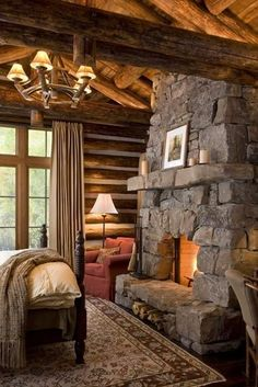 Cozy Cabin Bedroom - LOVE the stone fireplace! Guest Cabin, Cozy Cabin, Winter Cabin, Cozy Cottage, Log Home Bedroom, Bedroom Fireplace, Cabin Fireplace, Master Bedroom, Fireplace Design