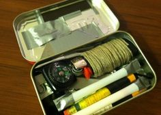 There are myths about the mini survival kit. The truth is it may never replace the complete kit but it can still save your life in a survival situation. Survival Supplies, Survival Food, Camping Survival, Outdoor Survival, Survival Knife, Survival Prepping, Emergency Preparedness, Survival Skills, Survival Quotes