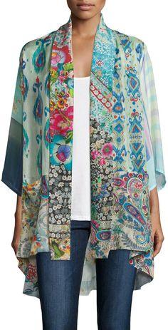 Johnny Was Collection Mixed-Print Tie-Front Silk Kimono, Plus Size
