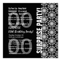 Any Year Surprise Birthday Modern Black White Custom Invitations.  #birthday #party #celebrate #celebration #invite #invitation #envelope #custom #customize #personalize #stamps #stickers