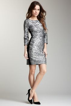 Andrew Marc:3/4 Length Sleeve Sequin Chemise Jersey Inset Dress  HauteLook