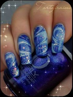 Blue marble nail-art by tartofraises ♥♥