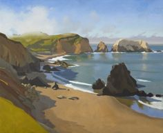 California plein air! Great Paintings, Beautiful Paintings, Beautiful Landscapes, Fantasy Landscape, Landscape Art, Landscape Paintings, Ocean Scenes, California Art, Art Themes