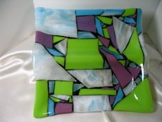 Fused Art Glass Divided Dish