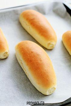 posmakujto! | Domowe bułki do hot-dogów Hot Dog Buns, Hot Dogs, Bread Dough Recipe, Bread Rolls, Bakery, Food And Drink, Menu, Yummy Food, Dinner