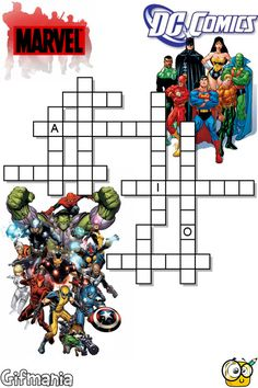 An incredible crossword with the best superheroes from Marvel and DC Comics !!