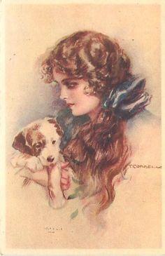 Tito Corbella Young Woman with Long Hair Dog Bo | eBay
