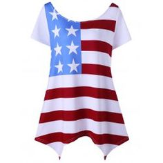 Asymmetric Patriotic Plus Size American Flag T-Shirt - White Xl Mobile Plus Size Tank Tops, Plus Size T Shirts, Clothing Sites, Fashion Seasons, T Shirts For Women, Clothes For Women, Plus Size Women, American Flag, Kids Swimwear