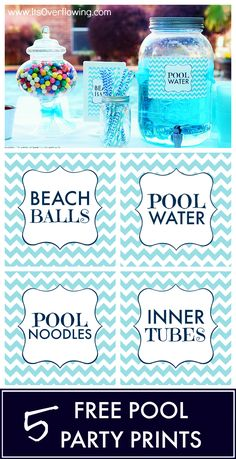 Pool Party Printables – Free – It's Overflowing – pool ideas Pool Party Games, Pool Party Kids, Swimming Party Ideas, Party Fun, Ideas Party, Splash Party, Fruit Party, Sommer Pool Party, 2nd Birthday Parties