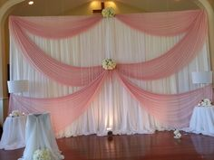 Blush pink ceremony backdrop with bling. Reception Backdrop, Wedding Ceremony Decorations, Baby Shower Decorations, Draping Techniques, Backdrops For Parties, Shutterfly, Wedding Pictures, Blush Pink, Vip