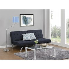 The Emily Navy Linen Futon by DHP has a split-back to match the individual preferences of your guests. The sofa easily adjusts from sitting, to lounging to sleeping positions. The linen material is sleek and simply wipes clean.