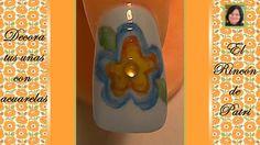 Decoración de uñas de flor con acuarelas - El rincón de Patri- Flower Nail Art with watercolors . Sigue todos nuestros diseños de decoración de uñas en http://www.rincondepatri.com