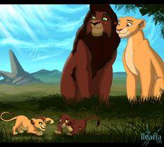 Kiara and Kovu watching their lion cubs playing Kiara Lion King, Lion King 4, Kiara And Kovu, Lion King Story, The Lion King 1994, Lion King Fan Art, Lion King Movie, Le Roi Lion Disney, Simba Disney