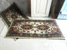 """2 wool rugs, bedside rugs, 44""""x 23"""" or 112 cm x 58 cm, boho decor, mid century rug, French country decor, French vintage."""