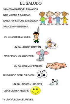 EL SALUDO                                                                                                                                                                                 Más Spanish Songs, Spanish Lessons, Teaching Spanish, Spanish Posters, Preschool Songs, Preschool Education, Classroom Language, Nursery Rhymes, Kids And Parenting
