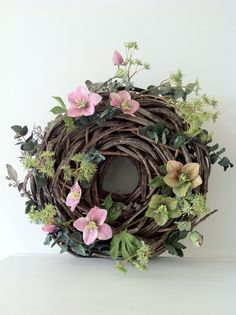 Helleborus wreath# by Blommarie Diy Wreath, Door Wreaths, Grapevine Wreath, Christmas Rose, Christmas Wreaths, Summer Wreath, How To Make Wreaths, Dried Flowers, Flower Arrangements