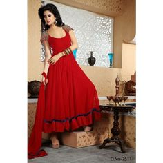 Wholesale Red Georgette Anarkali Dress In Surat - Online Shopping for Salwar Suit by Eshan Traders