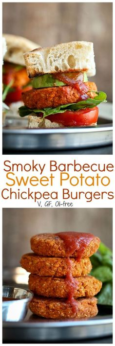 Smoky barbecue sweet potato chickpea burgers are vegan, gluten-free and oil-free. Easy, quick and delicious burgers with few basic ingredients.