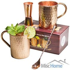 [Gift Set] Moscow Mule Copper Mugs 100% Pure Copper (No Nickel Interior) Moscow Mule Gift Set Includes Two 16 Oz. Pure Copper Hammered Mugs - Double Sided Copper Shot Pourer - Copper Stir Spoon