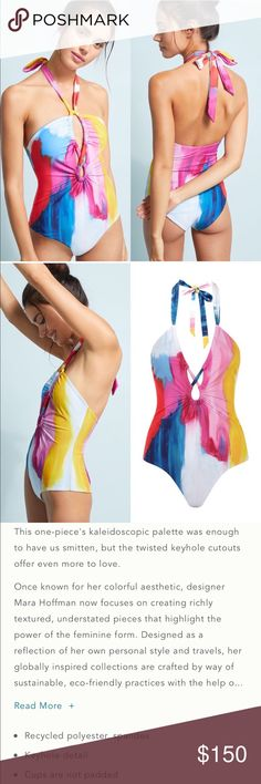 7be9a8eea22 NEW • Mara Hoffman • Aya One Piece Swimsuit - Mara Hoffman - Women's - Aya  Keyhole One Piece Swimsuit - Brushstroke Print - Pink / Blue - Size XS and  Medium ...