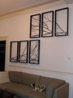 Branch art using multiple frames. I've been considering doing a single large frame for the living room, but I like this idea, too! Rama Seca, Branch Art, Tree Branch Decor, Birch Branches, Birch Bark, Diy Casa, Rustic Art, Urban Rustic, Home Projects