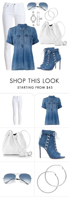 """Untitled #1435"" by gallant81 ❤ liked on Polyvore featuring Barbour, Equipment, Lancaster, Oscar Tiye, Ray-Ban, Melissa Odabash and Anne Klein"