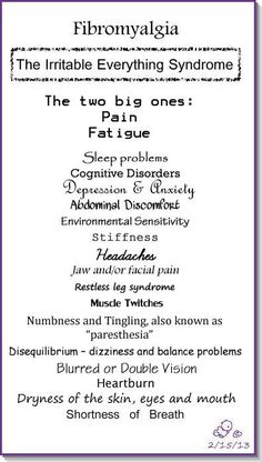 Fibromyalgia -The irritable everything syndrome