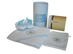 Baby Champagne 3 Piece Bathtub Gift Set and Keepsake Cylinder Box, Blue, 0-6 Months by Baby Champagne. $25.47. Wrap your little one in warmth with this 3-Piece Keepsake Gift Set from Baby Champagne. After using the washcloth during bath time, wrap Baby in the beautifull hooded towel and keep tiny tootsies warm with the booties. Each item in the set is made from soft and absorbent cotton terry, and the towel is decorated with cute embroidery. Includes slippers, towel, ...